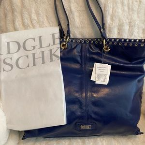 Badgley Mischka Blue Leather Tote